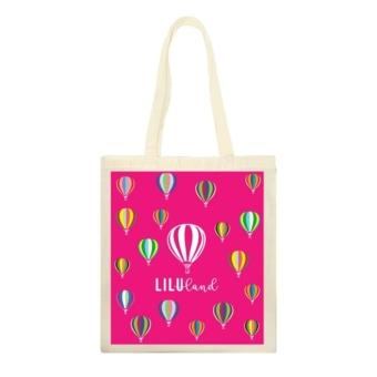Hőlégballon-mintás vászontáska – pink